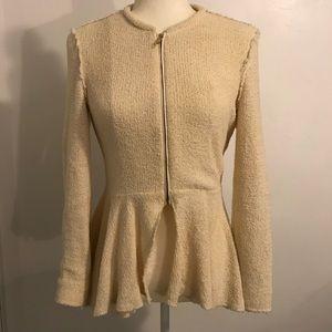 Zara Cream Knitted Zip Jacket